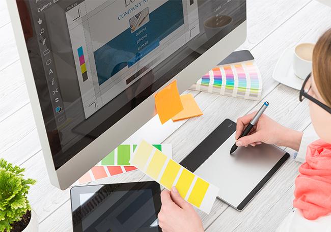 graphic designer creating startup brand design