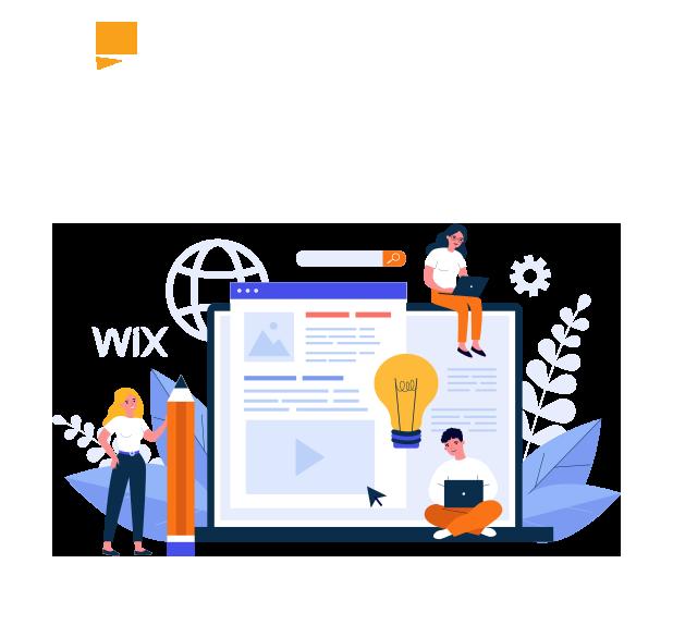 graphic design illustration of web designers making a website