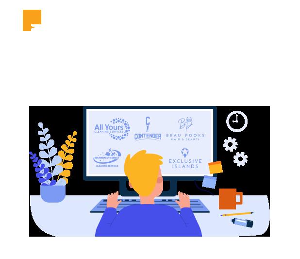 illustration of graphic designer working on a logo design