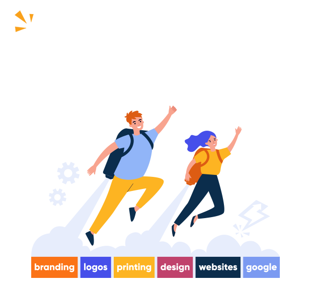 illustration of design agency who offers printing, logo design, web design, branding