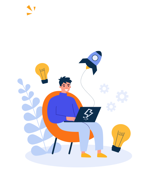 illustration of small business owner - graphic design agency poole
